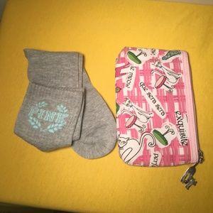 Victoria Secret PINK Socks NWT & Cat Makeup bag